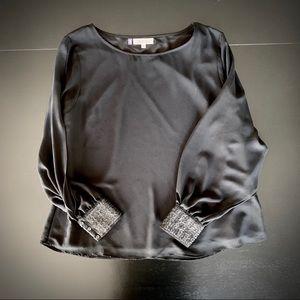 Unique Split Sleeve Sequined Cuff JLo Blouse Black
